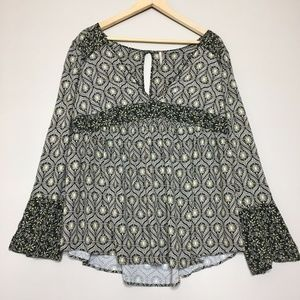 Free People Peasant Tunic 3/4 Sleeve Gypsy Top